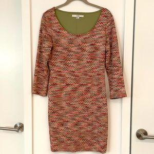 Missoni Inspired Zigzag Knit Mod Dress size L